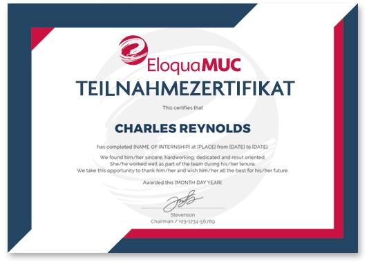 EloquaMUC Online Deutschkurs Teilnahmezertifikat